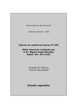 Informe 249 - Htal Clinicas - Denuncia realizada por el Sr. Miguel