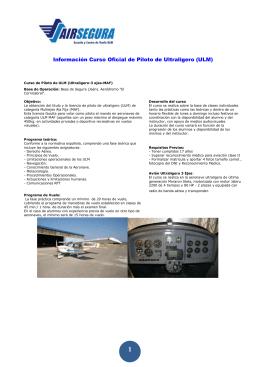 Información Curso Oficial de Piloto de Ultraligero (ULM)