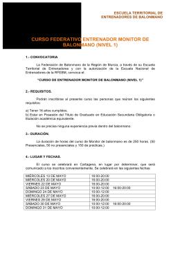 CURSO FEDERATIVO ENTRENADOR MONITOR DE BALONMANO