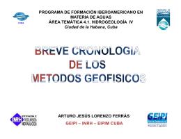 BREVE CRONOLOGIA GEOFISICA