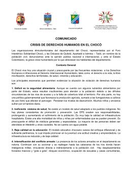 comunicado crisis de derechos humanos en el chocó
