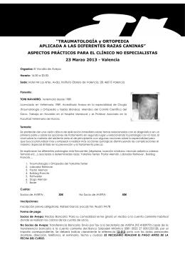 Hoja informativa seminario Traumatología Valencia 23 Marzo 2013