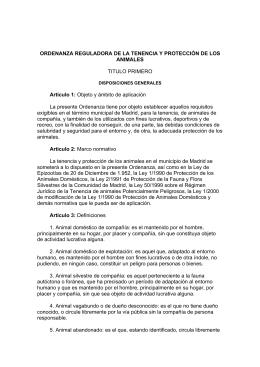 Ordenanza Reguladora de la Tenencia y Protección
