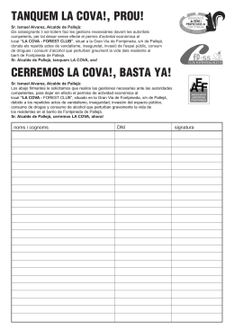 tanquem la cova!, prou! - PDF: Treballant per Fontpineda