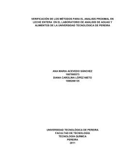 verificación de los métodos para el analisis proximal en leche
