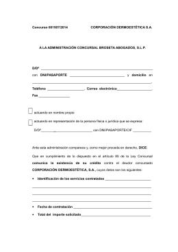 Concurso 001507/2014 CORPORACIÓN DERMOESTÉTICA S.A. A
