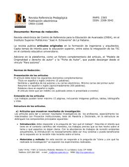 Normas de presentación - Revista Referencia Pedagógica