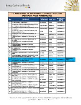 cooperativas de ahorro y crédito calificadas al sistema nacional de