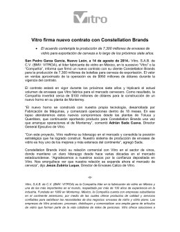 Vitro firma nuevo contrato con Constellation Brands