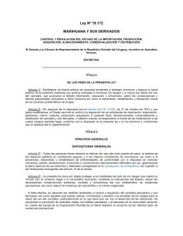 Ley Nº 19.172 MARIHUANA Y SUS DERIVADOS