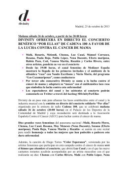 DIVINITY OFRECERÁ EN DIRECTO EL CONCIERTO BENÉFICO