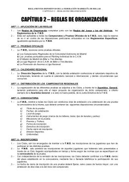 CAPÍTULO 1 – REGLAS DEL JUEGO - Federación Madrileña de Billar