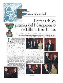 Entrega de los premios del I Campeonato de Billar a Tres Bandas