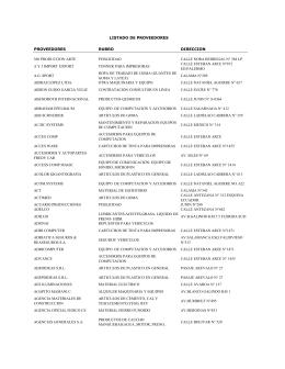 listado de proveedores proveedores rubro direccion 360