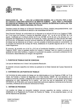 CEM Inspector Area Policia Judicial, distintas plantillas