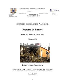 Sismo de Colima - Servicio Sismológico Nacional