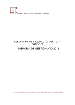 Memoria de Gestión 2011 - Colegio Oficial de Arquitectos de Sevilla