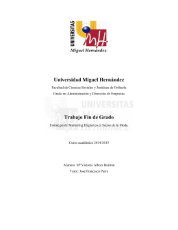 Universidad Miguel Hernández Trabajo Fin de Grado
