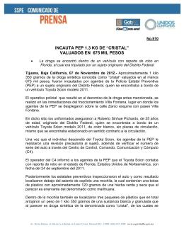 """INCAUTA PEP 1.3 KG DE """"CRISTAL"""" VALUADOS EN 675 MIL PESOS"""
