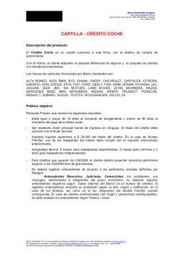 CARTILLA - CRÉDITO COCHE