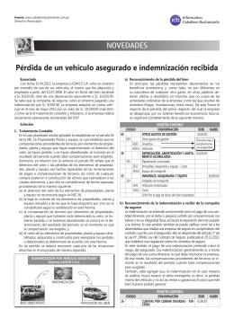 pérdida de un vehículo asegurado e indemnización recibida