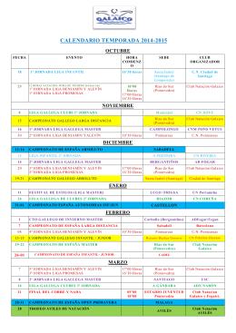 CALENDARIO TEMPORADA 2014-2015