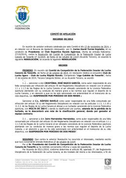 COMITÉ DE APELACIÓN RECURSO 30/2014 En reunión de