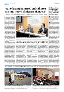 Juaneda amplía su red en Mallorca con una nueva clínica en Manacor