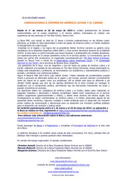 CONVOCATORIA A JÓVENES DE AMÉRICA LATINA Y EL CARIBE