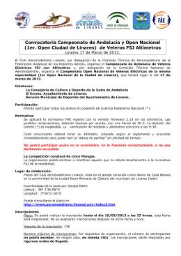 Convocatoria Cto. de Andalucía y Open Nacional de F5J Altímetro.