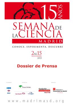 Dossier de prensa de la XV Semana de la Ciencia 2015