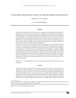 Clima organizacional como factor de riesgo ocupacional