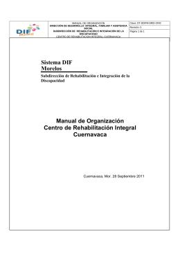 MANUAL DE ORG. CRI CUERNAVACA