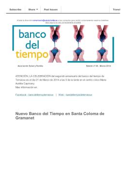 Nuevo Banco del Tiempo en Santa Coloma de Gramanet