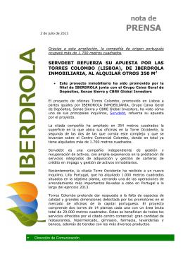 (2013-07-02) Servdebt refuerza su apuesta por las Torres Colombo
