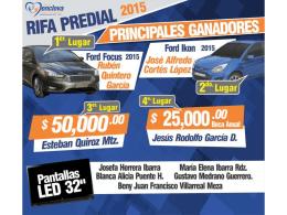 LISTA GANADORES RIFA PREDIAL 2015 HOJA 1 DE 4