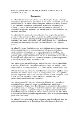 comunicado sobre poltica de adopcin internacional e informe de