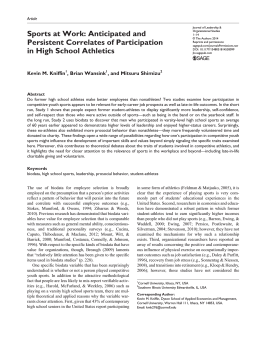 Sports at Work: Anticipated and Persistent Correlates of Participation