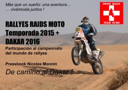 RALLYES RAIDS MOTO Temporada 2015 + DAKAR 2016 De