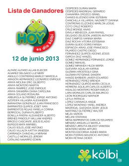 Lista de Ganadores 12 de junio 2013