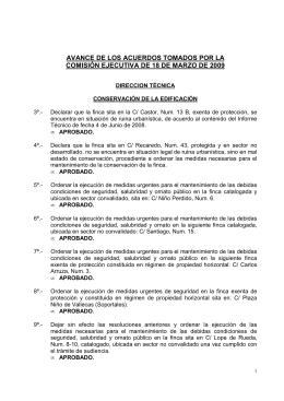 avance de los acuerdos tomados por la comisión ejecutiva de 18