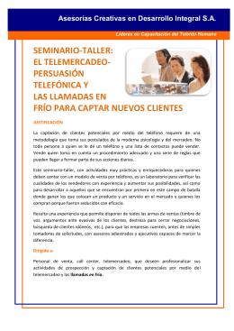 seminario-taller: el telemercadeo- persuasión