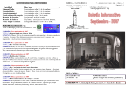 ACTIVIDADES PARA ENERO - Iglesia Evangélica de Trafalgar