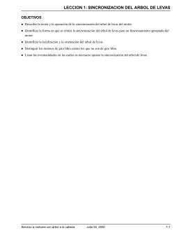 LECCION 1: SINCRONIZACION DEL ARBOL DE LEVAS