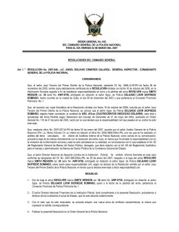 ORDEN GENERAL No. 042 DEL COMANDO GENERAL DE LA