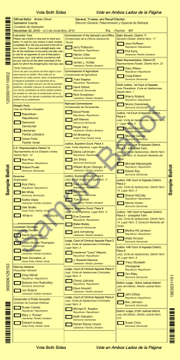 Sample Ballot Sample Ballot