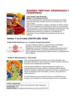 BUDISMO TIBETANO: ENSEÑANZAS Y CEREMONIAS