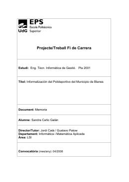 Projecte/Treball Fi de Carrera