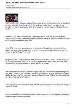 NUEVA YORK (AP).- El puertorriqueño Miguel Cotto se alzó el título