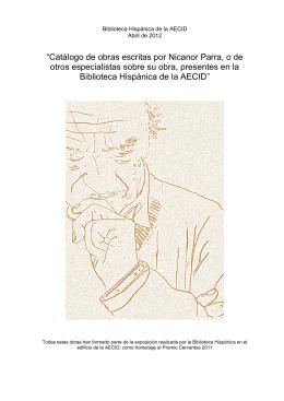 """Catálogo de obras escritas por Nicanor Parra, o de otros"